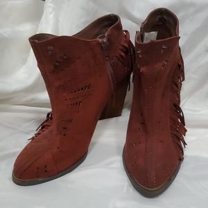 Not Rare brown suede like booties 7.5